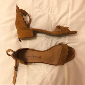 Lucky Brand Low Tan Suede Strappy Heels